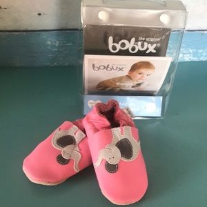 🐘 Bobux pink leather slippers sz M 9-15 month NEW